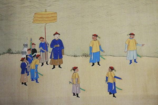 康熙帝南巡图卷(第九卷)一隅,图中体型高大者为康熙。(林伯东 / 大纪元)