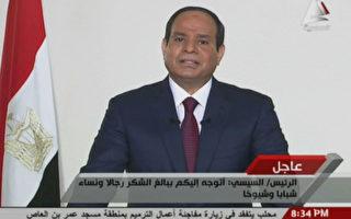 6月3日,埃及前陸軍元帥賽西(Abdel Fattah Al Sisi)被正式宣佈就任該國總統。图为賽西在電視上發表談話。AFP