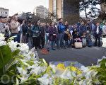 6月3日晚,花园角民主女神像前举行的纪念六四25周年活动。(马有志/大纪元)