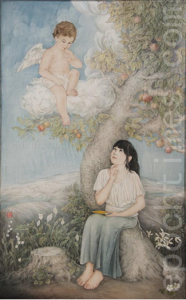 《奇妙的法》,画家:樊弘 (AMY LEE),材料:绢丝,水墨,矿物质颜料。宽 x 高=33