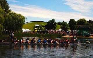 第21届渥太华龙舟大赛于2014年6月19日-22日在当地的慕尼斯贝水上公园(Mooney's Bay Park)举行。(任乔生/大纪元)