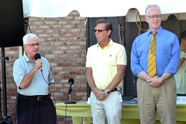 德拉華州州眾議員Joseph Miro(左一)、Michael Ramone(中)和Dennis E. Williams在中國節開幕式上。(良克霖/大紀元)