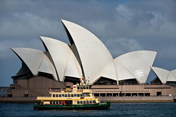 悉尼港标志建筑──悉尼歌剧院。(MANAN VATSYAYANA/AFP PHOTO)