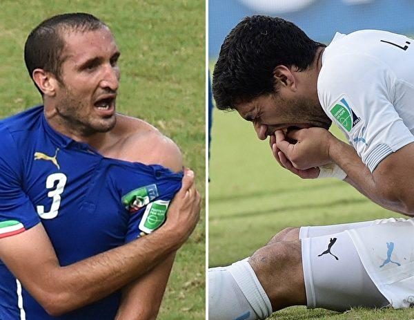 烏拉圭前鋒蘇亞雷斯(Luis Suarez,右)在烏拉圭與義大利一戰中,咬了義大利後衛基耶利尼(Giorgio Chiellini,左)。(DANIEL GARCIA/AFP/Getty Images)