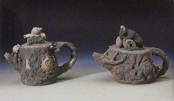 《迎君壶》(左)、《富庶壶》(右)。(钟元翻摄/大纪元)