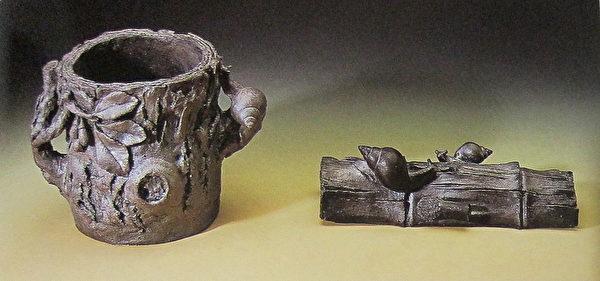 《木叶蜗盆》(左)、《母女情半片竹》(右)。(钟元翻摄/大纪元)