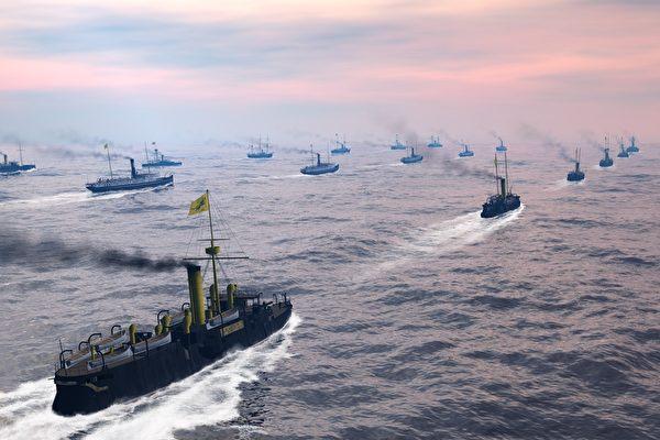 清北洋海軍主力護送陸軍前往大東溝。(暖暖書屋提供)
