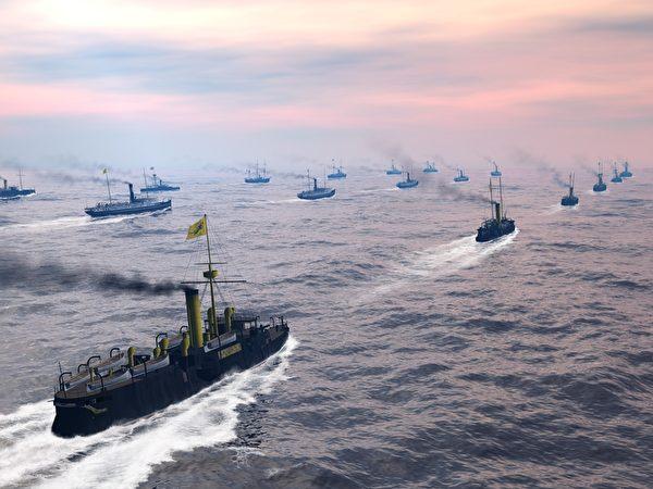 清北洋海军主力护送陆军前往大东沟。(暖暖书屋提供)