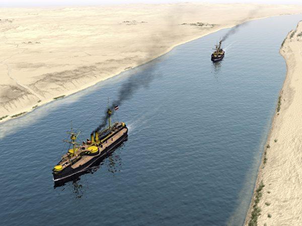 北洋舰队通过苏伊士运河。(暖暖书屋提供)