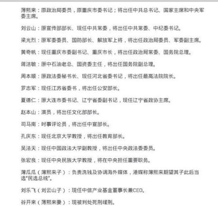 《大紀元》4月份發表的一份涉薄熙來、周永康政變的中南海及省部級高官名單驚現大陸微博,隨即遭刪除。(網絡截圖)
