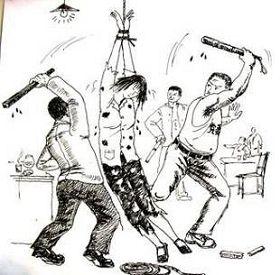 周永康在四川期間,就授權、監督和批准使用諸如謀殺、酷刑和失蹤等手段恐嚇和消除在他管轄範圍內的法輪功修煉者。圖為中共惡警對法輪功學員使用毒打等迫害。(明慧網)
