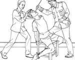 中共酷刑示意图:摧残性灌食(明慧網)