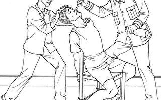 中共酷刑示意图:摧残性灌食(明慧网)
