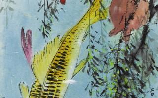 花鸟小条幅二帧之一:多子有余(彩墨)30×94cm (图片来源:画家提供)
