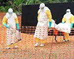 2014年8月5日,西非埃博拉疫情严峻,世银等拨款2.6亿美元遏止疫情扩散,致今疫情扩散到四个国家,已致887人死亡。图为无国界医师组织工作人员掩埋埃博拉患者尸体。(SEYLLOU/AFP/Getty Images)