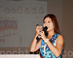圖:台灣藝人、雞排妹鄭家純北美巡迴演講第5場8月9日在加州聖地亞哥台灣中心舉行。她自我評定「只是一個有能力有影響力的二十歲女生」,希望借影響力「關心台灣」。(楊婕/大紀元)