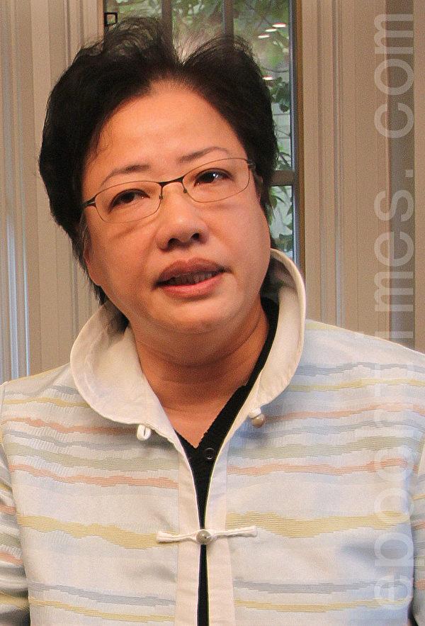 潘鈺儀於7月10日在安省Aurora鎮召開記者會。(周月諦/大紀元)
