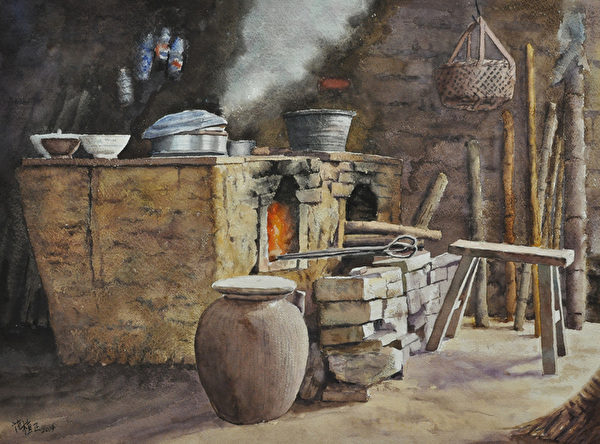 范植正,《灶》,56x76cm,(中华亚太水彩艺术协会提供)