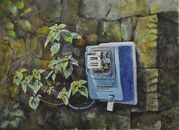范植正,《偏乡电表》,56x76cm,(中华亚太水彩艺术协会提供)