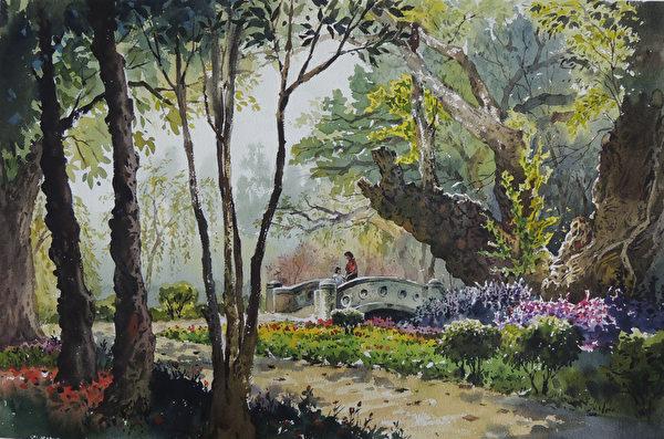 陳俊男,《台南公園─台南》,56x38cm,2013,(中華亞太水彩藝術協會提供)
