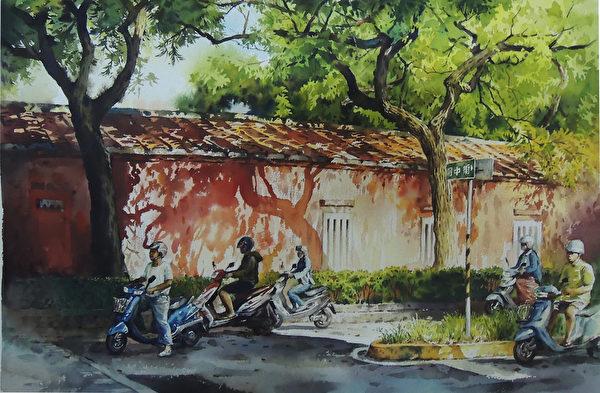 陳俊男,《早安.府城--孔廟紅牆》,56x38cm,2013,(中華亞太水彩藝術協會提供)