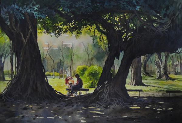 陳俊男,《慈暉--台中公園》,56x38cm,2014,(中華亞太水彩藝術協會提供)