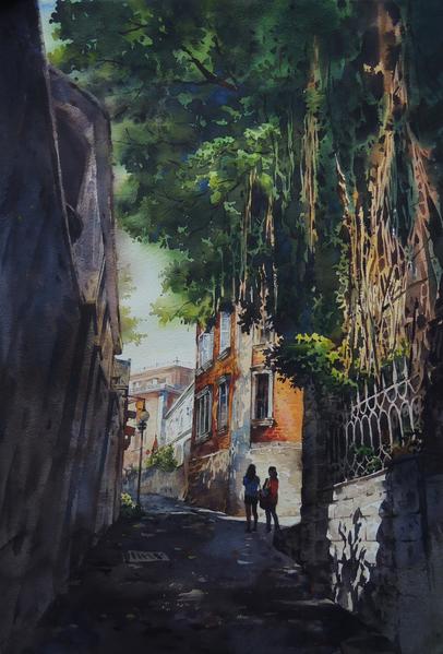 陳俊男,《鼓浪嶼的午后》,38x56cm,2013,(中華亞太水彩藝術協會提供)