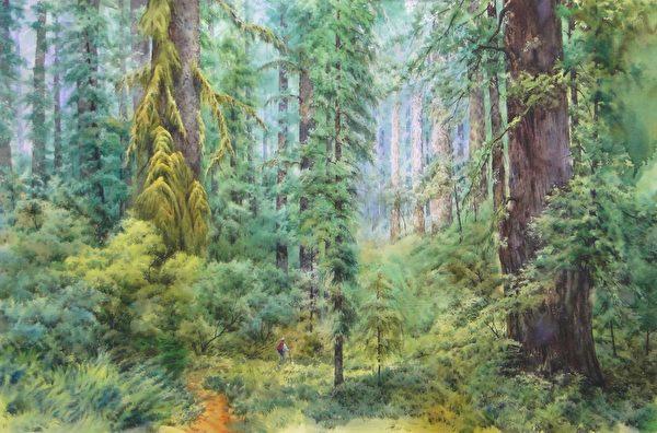 洪東標,《綠野芳蹤》,100x150cm,2014,(中華亞太水彩藝術協會提供)