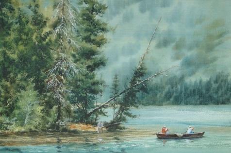 洪東標,《優游綠水間》,30x54cm,2013,(中華亞太水彩藝術協會提供)