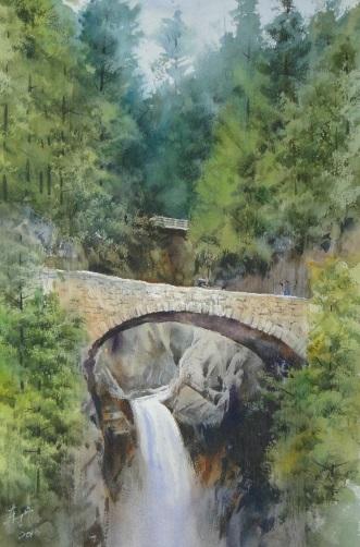 洪東標,《石橋下的瀑布》,45x30cm,2013,(中華亞太水彩藝術協會提供)
