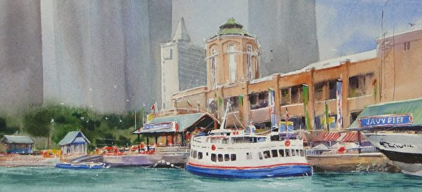 洪東標,《歡樂芝加哥》,18x38cm,2013,(中華亞太水彩藝術協會提供)