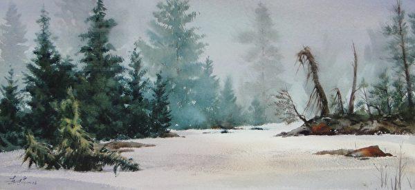 洪東標,《晚春殘雪》,25x54cm,2013,(中華亞太水彩藝術協會提供)