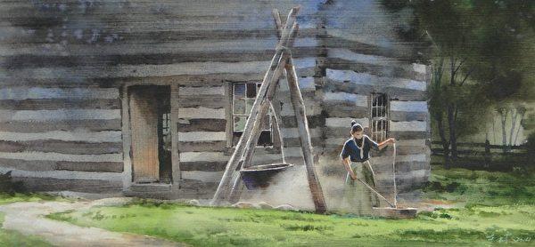 洪東標,《結繩的農家女》,21x45cm,2014,(中華亞太水彩藝術協會提供)