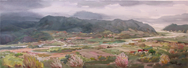 陳品華《青溪一曲》,76×28cm_2006 (圖:中華亞太水彩藝術協會提供)