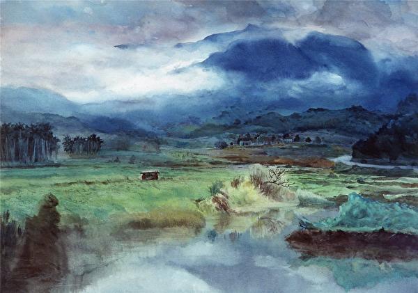 陈品华《春野》 76×56cm 1988, (图:中华亚太水彩艺术协会提供)