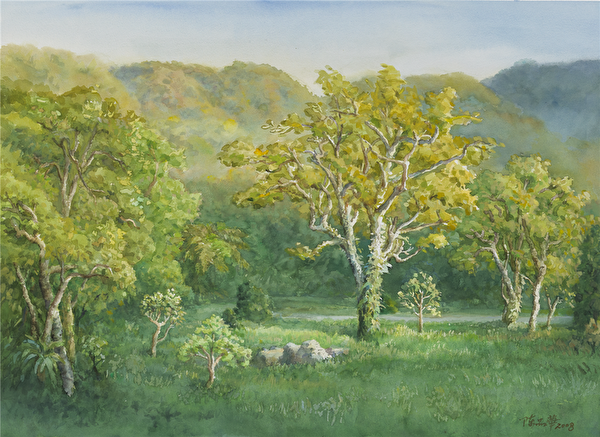陳品華《福山夏陽》76×56cm_2008,(圖:中華亞太水彩藝術協會提供)