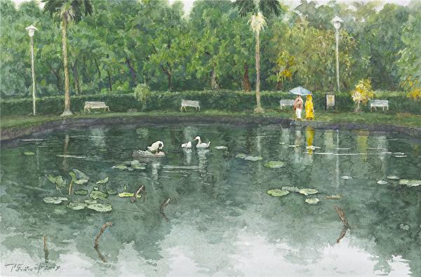 陈品华《雨中赏景》56×38cm_2009,(图:中华亚太水彩艺术协会提供)
