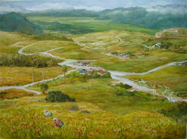 陈品华《锦绣大地》 76×56cm 2011,(图:中华亚太水彩艺术协会提供)