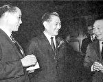 1971年11月在中钢成立酒会上。右起:行政院长蒋经国,赵耀东、 经济部长孙运璿。 (《开放》提供)