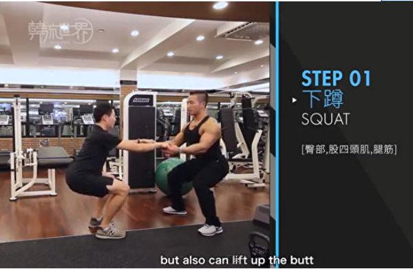 大明星私人健身教练的尹泰植(右)。(新唐人电视台网路截图)