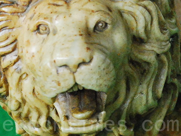經專家鑑定,這尊「雄獅石雕」是用田黃石製作的。田黃石本身是稀世珍寶,民間素有「一兩田黃三兩金」之說。目前的市價,上好的田黃石可達數千美元一克,遠超黃金價格。(當事人提供)