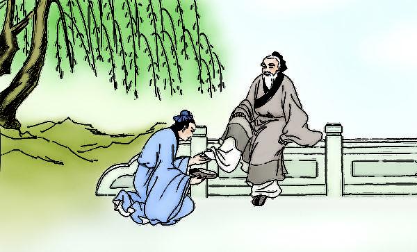 張良走到橋下撿回老人的鞋子,並蹲下身子幫老人穿好鞋。(大紀元圖片庫)