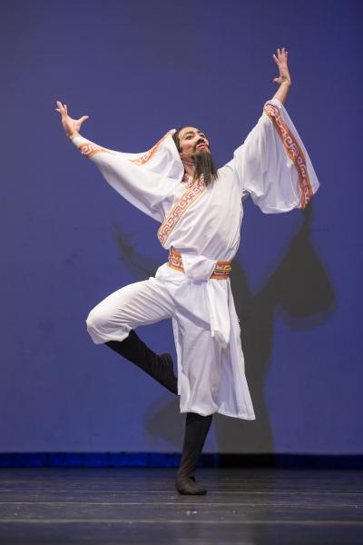 青年男子组金奖廖若山,他表演的剧目是《赤壁怀古》。(爱德华/大纪元)