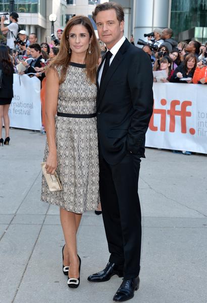 科林‧费尔斯(右)的妻子(左)是意大利人,英伦影帝会意大利语。(Alberto E. Rodriguez/Getty Images)