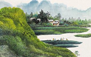 放风筝(彩墨)63×145cm(图片来源:画家提供)