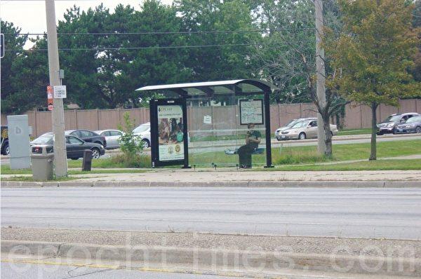 公共汽车亭子,每个亭子里都有镶在镜框里的全市交通图和供顾客坐的椅子。(李文笛/大纪元)