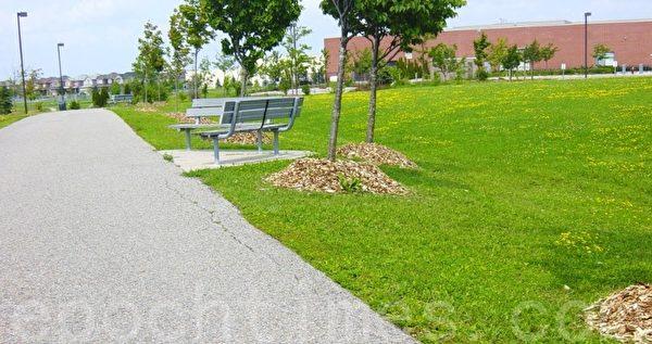 大草坪中间有小路,在小路边上隔一段就有一对连椅供游客休息。(李文笛/大纪元)