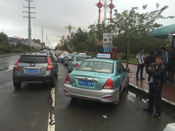 9月2日,吉林省舒蘭市出租車司機集體大罷工。(知情人士提供)