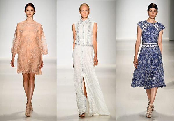 2015纽约春夏时装周,庄司正(Tadashi Shoji)品牌发布会。(大纪元合成图/Getty Images)