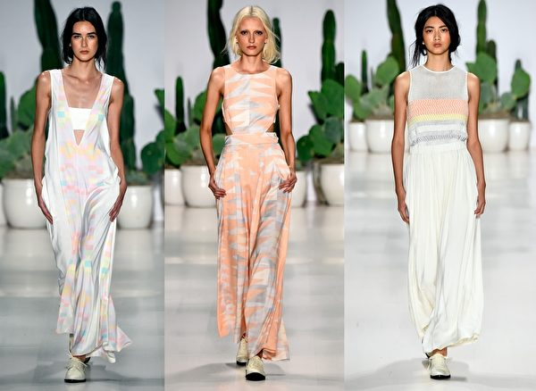 2015紐約春夏時裝週,紐約設計師Mara Hoffman品牌秀。(大紀元合成圖/Getty Images)